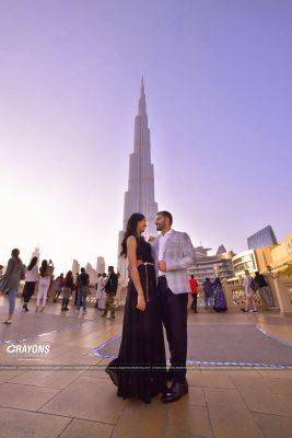 Crayons creations couple post wedding infront of Burj Khalifa wedding photography Ernakulam Kerala