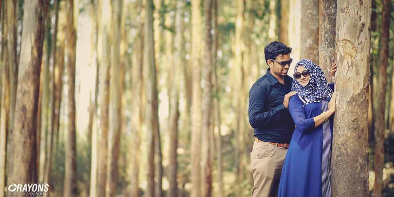 Couple in woods photography company Kochi Kannur Kerala
